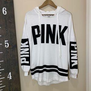 Victorias Secret PINK white black sweatshirt hood